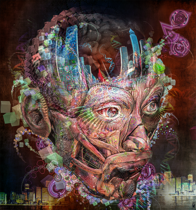 A City man portraits - Digital Arts,  70x64 cm ©2016 by Jeff Drawbot -                                                                                                        Illustration, Outer Space, Fantasy, Men, Portraits, Spirituality, Cities, psychedelique, visionnaire, reves, magic, esprit, meditation, cosmos, cosmic, visionary art, psychedelic art