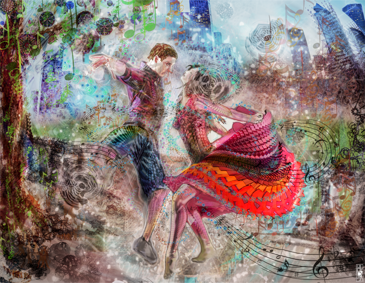 Dancing in the Rain - Digital Arts,  85x60 cm ©2016 by Jeff Drawbot -                                                                                Illustration, Love / Romance, Outer Space, Music, Spirituality, psychedelique, visionnaire, esprit, meditation, dance, magic, reves, corsmic, cosmo, visionary art, psychedelic art