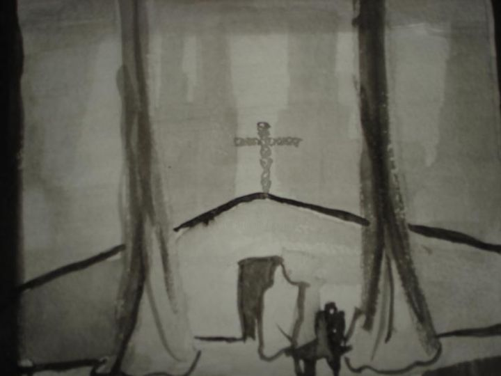 """Painting titled """"Church in a Forest"""" by Jeffrey Lukeski, Original Art,"""
