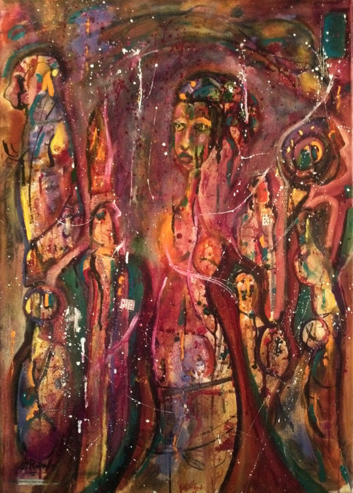 Bohemian Voodoo - Painting,  27.6x19.7 in, ©2015 by Jeff Roland -                                                                                                                                                                                                                                                                                          Bohemian, Voodoo, Jeff Roland, modernism, art, French