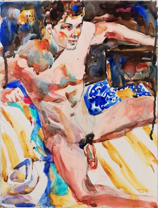 """Painting titled """"Male Nude with Hat…"""" by Jelena Djokic, Original Art, Watercolor"""