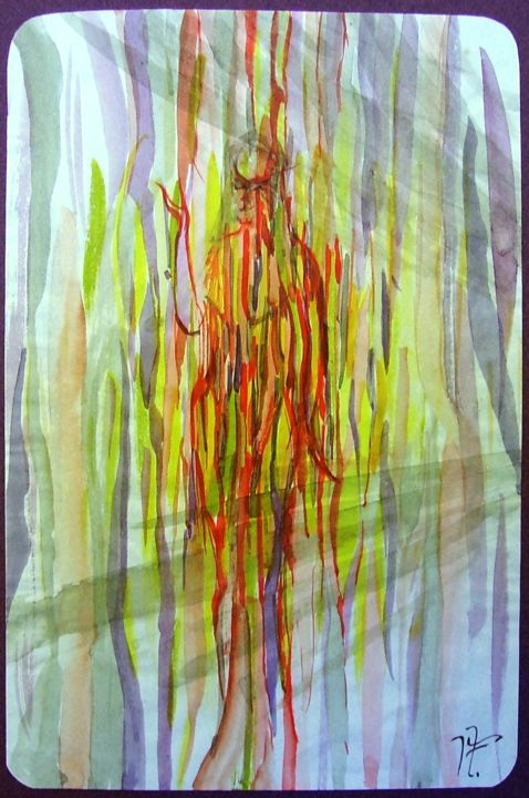 femme-flamme - Painting,  8.3x5.5 in, ©2017 by JENS -