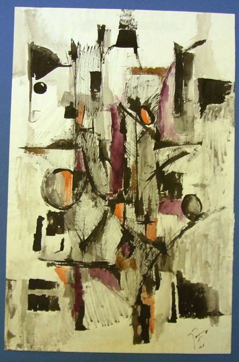 structures - Painting,  19.7x13 in, ©2017 by JENS -