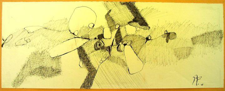 16-sans-parole.jpg - Drawing,  13x33 cm ©2017 by JENS -                        Paper