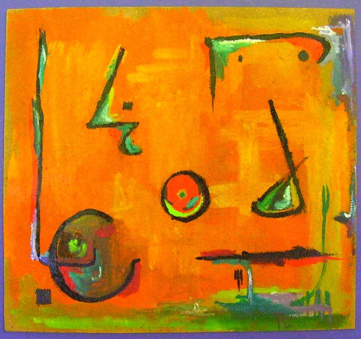 21-miro, tanguy, et les autres.jpg - Painting,  9.8x10.6 in, ©2017 by JENS -