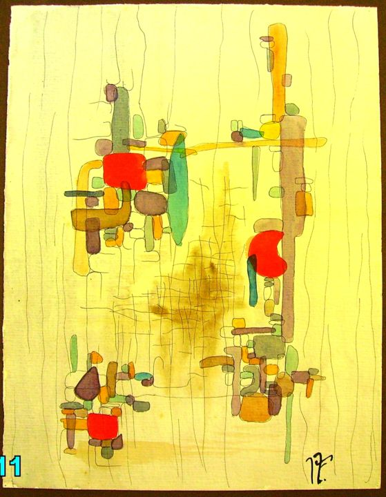 23-structures légères.jpg - Painting,  13x9.8 in, ©2017 by JENS -