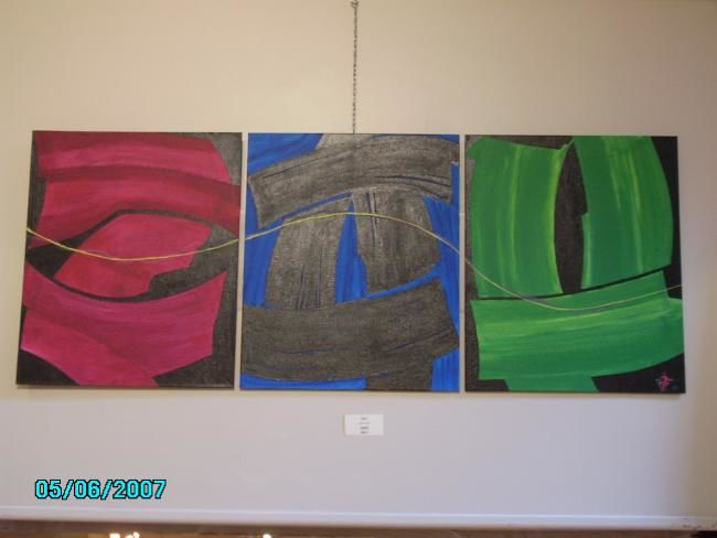 zou, tryptique - Painting,  45x115 cm ©2007 by JENS -                        Contemporary painting