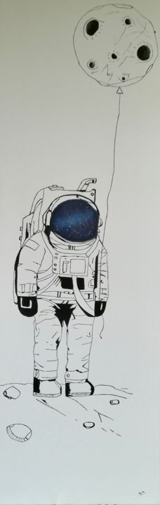 Bily.jpg - Painting,  47.2x15.8x1.6 in, ©2018 by Jérémy Q -                                                                                                                                                          Outer Space, Tableau astronaute, toile astronaute