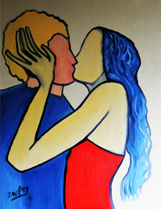 """Painting titled """"Baiser enflammé"""" by Jérôme Dufay, Original Art, Oil Mounted on Stretcher frame"""