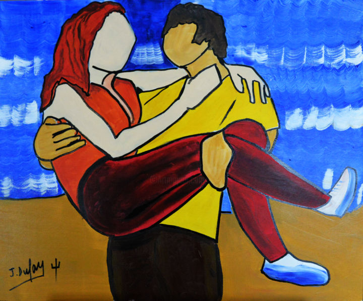 """Painting titled """"Jeu de plage"""" by Jérôme Dufay, Original Art, Acrylic Mounted on Stretcher frame"""