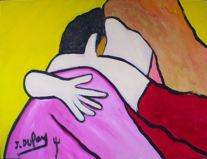 """Painting titled """"Serrement de joie"""" by Jérôme Dufay, Original Art, Acrylic Mounted on Stretcher frame"""