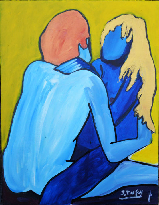 """Painting titled """"CORPS A COEUR"""" by Jérôme Dufay, Original Art, Acrylic Mounted on Stretcher frame"""