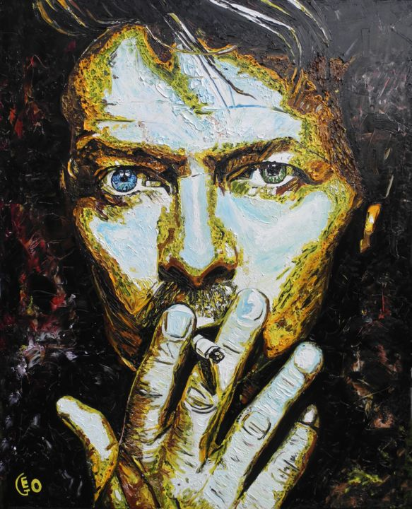 """Painting titled """"David Bowie"""" by Jerome Labrunerie (GEO), Original Art, Oil"""