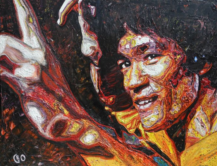 """Painting titled """"Bruce Lee"""" by Jerome Labrunerie (GEO), Original Art, Oil"""