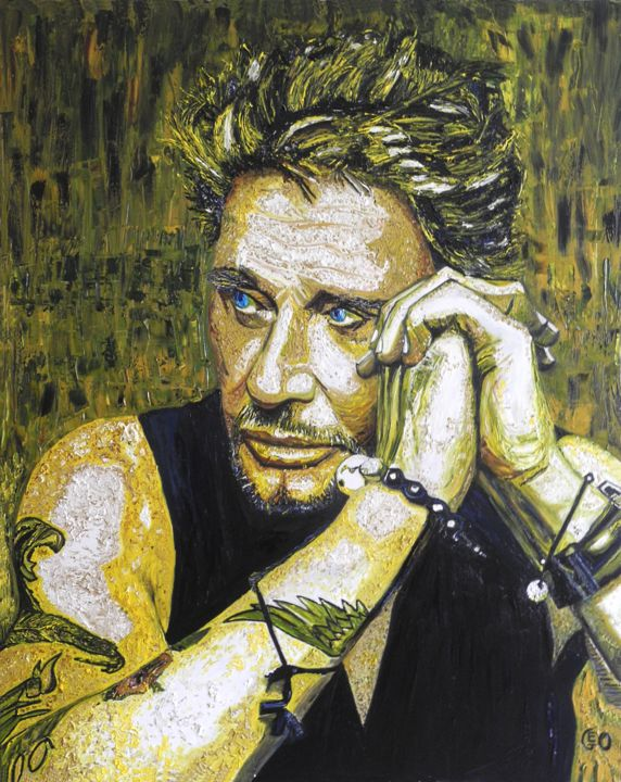 """Painting titled """"Johnny Halliday"""" by Jerome Labrunerie (GEO), Original Art, Oil Mounted on Stretcher frame"""