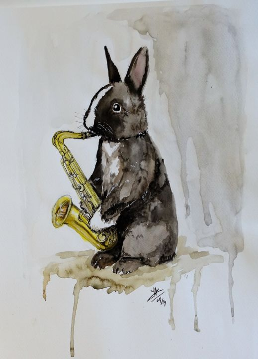 bunny - Painting,  15.8x11.8 in, ©2014 by Jérôme Royer -                                                                                                                                                                          Figurative, figurative-594, Animals