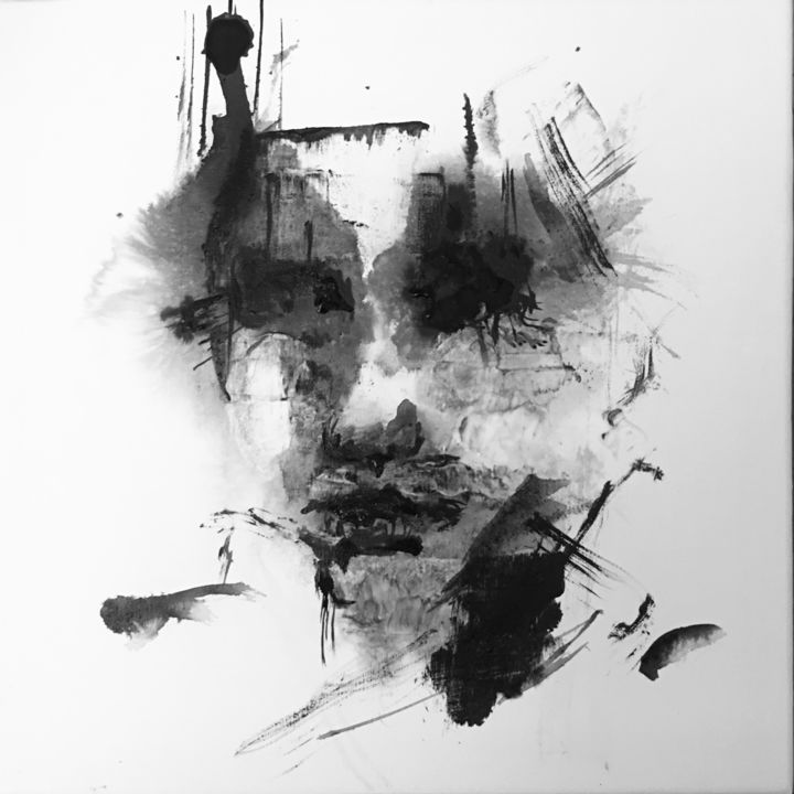 Caiam - Painting,  7.9x7.9x0.8 in, ©2019 by Jérôme Royer -                                                                                                                                                                                                                                                                                                                                                              Abstract, abstract-570, Portraits, ghost, black and white, portrait, indian ink