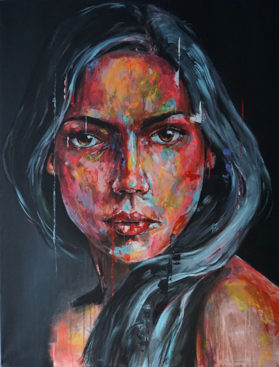 Intrication XXII - Painting,  45.7x35.4x1.2 in, ©2019 by Jérôme Royer -                                                                                                                                                                                                                                                                                                                                                                                                                                                      Figurative, figurative-594, Women, Portraits, femme, regard, yeux, coloré, moderne