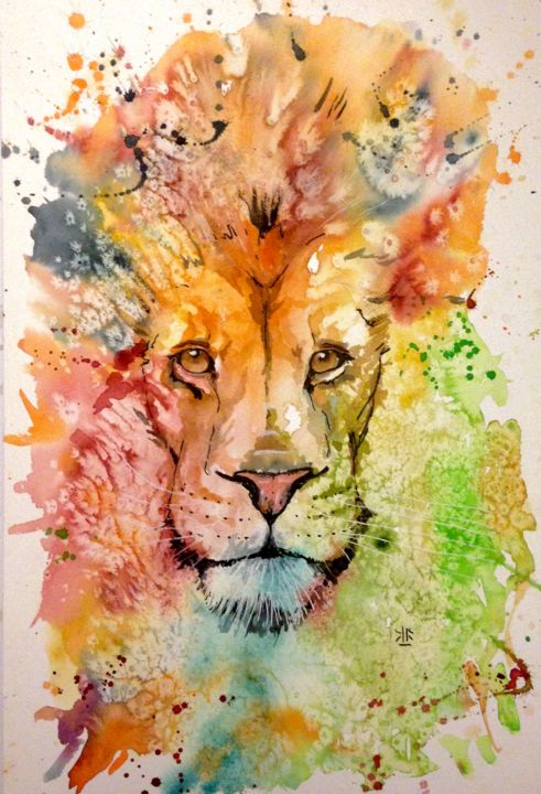 Lion watercolor aquarelle et mixte for Art conceptuel peinture