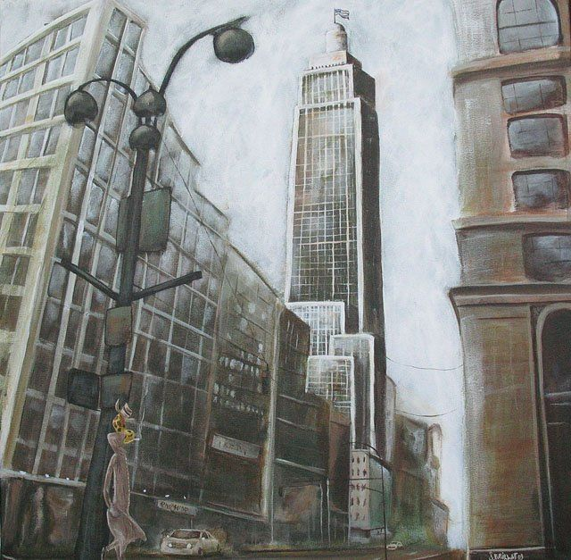 Girafe à Manhattan - Painting,  23.6x23.6 in, ©2009 by Jerome Brillat -