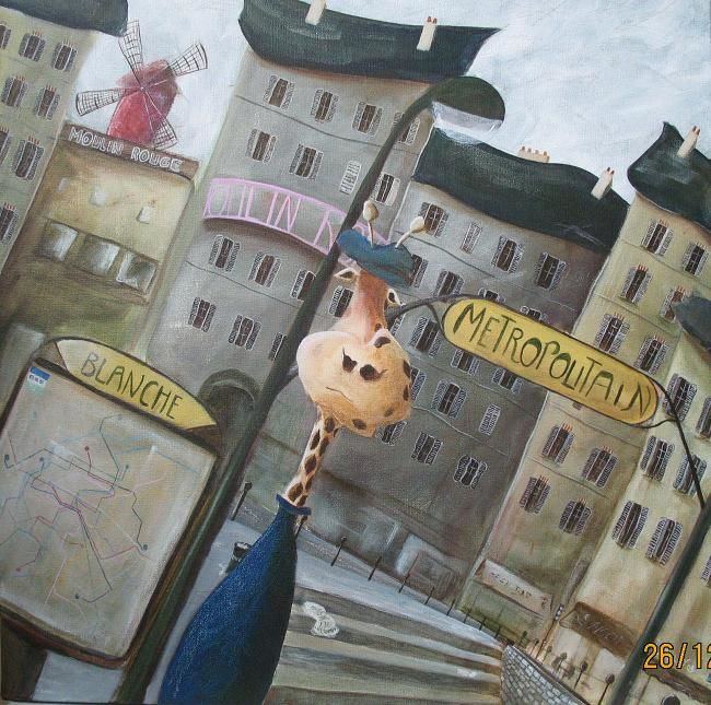 Girafe à Pigalle - Painting,  23.6x23.6 in, ©2009 by Jerome Brillat -