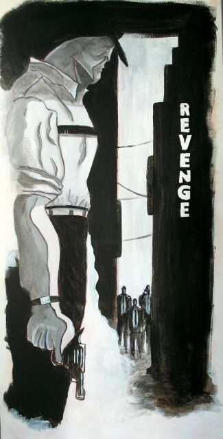 Revenge - Painting,  23.6x11.8 in, ©2011 by Jerome Brillat -