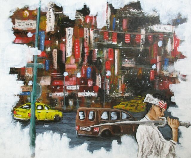 Urban samouraï - Painting,  60x50 cm ©2011 by Jerome Brillat -