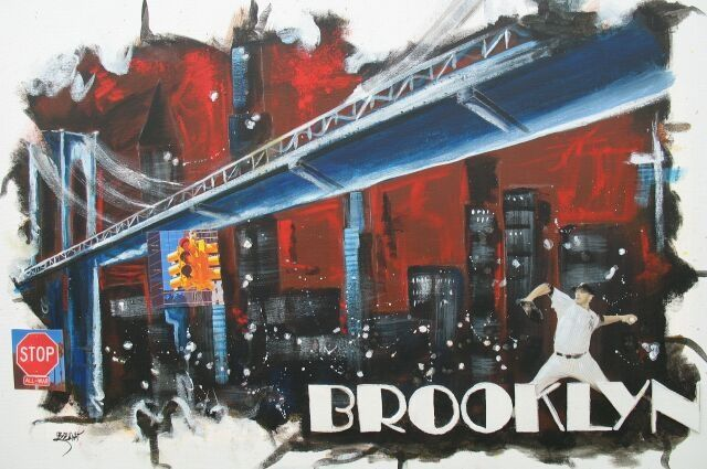 Brooklyn - Painting,  50x80 cm ©2011 by Jerome Brillat -