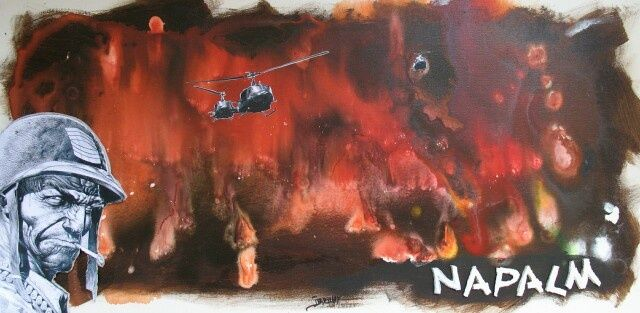 Napalm - Painting,  11.8x23.6 in, ©2011 by Jerome Brillat -