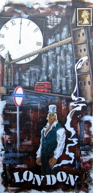 London - Painting,  60x45 cm ©2011 by Jerome Brillat -