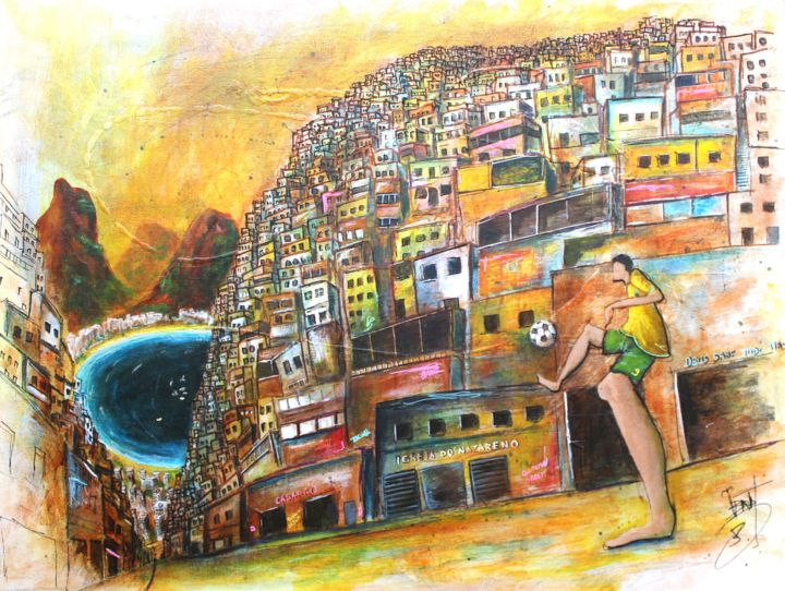Oro y verde - Painting,  2x50x65 cm ©2014 by Jerome Brillat -                                                                        Figurative Art, Canvas, Pop Culture / celebrity, Cities, Brésil, favelas, rio, football