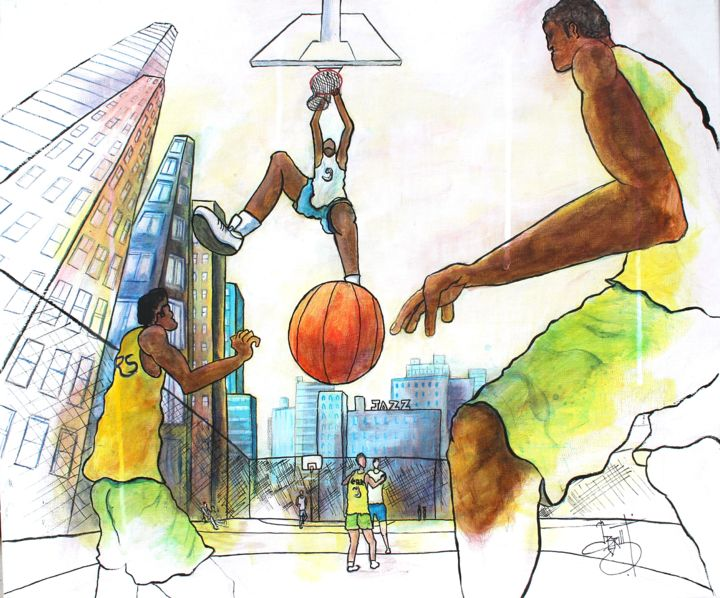 Dunk - Painting,  2x60x70 cm ©2015 by Jerome Brillat -                                                            Contemporary painting, Canvas, Sports, sport, basket, dunk, smash, street, urban, new york