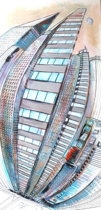 from top to bottom 'n bottom up - Painting,  120x60x2 cm ©2015 by Jerome Brillat -                                                            Contemporary painting, Canvas, Cities, ville, town, building, flat, street