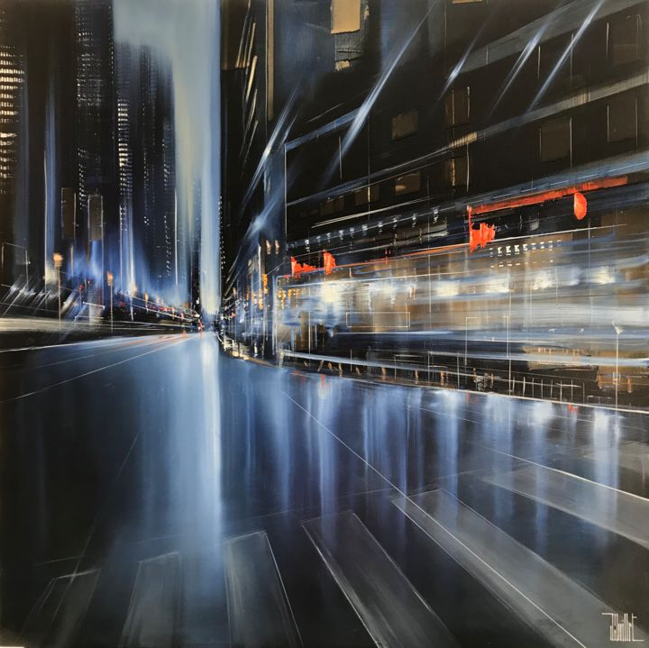Hong Kong boulevard - Painting,  80x80 cm ©2018 by Jerome Guillet -
