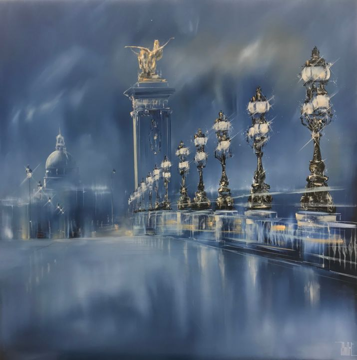 Pont Alexandre 3 - Painting,  90x90 cm ©2018 by Jerome Guillet -