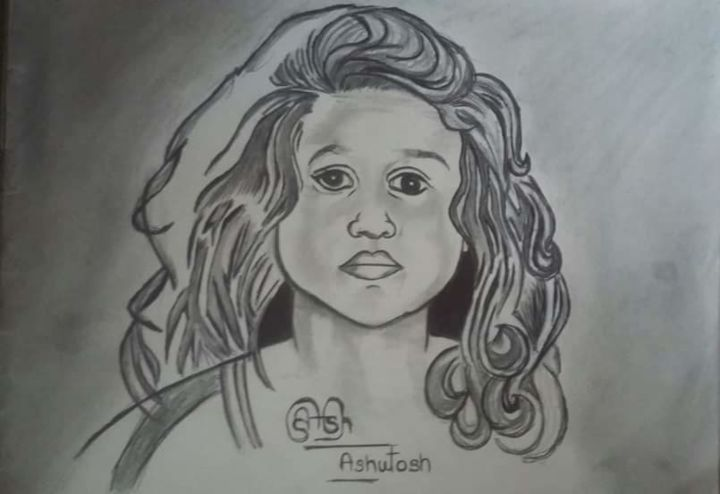 Girl With Curly Hair Jpg Drawing By Jerry Vashisth Artmajeur