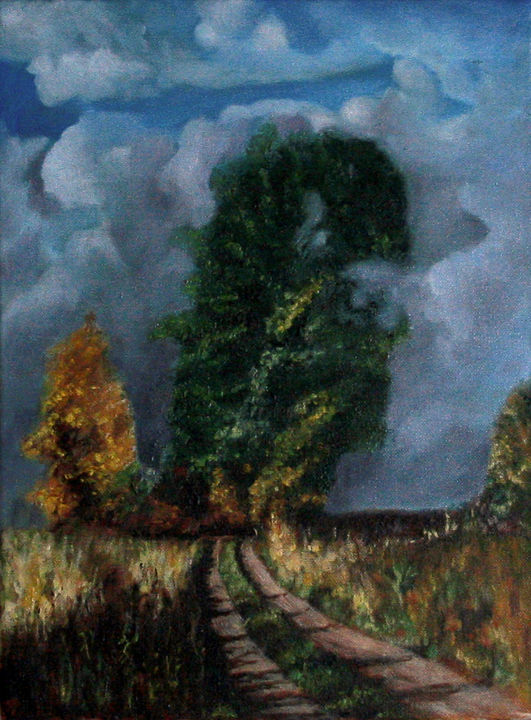 """Painting titled """"Dirty Road"""" by Jerzy Kania, Original Art, Oil"""
