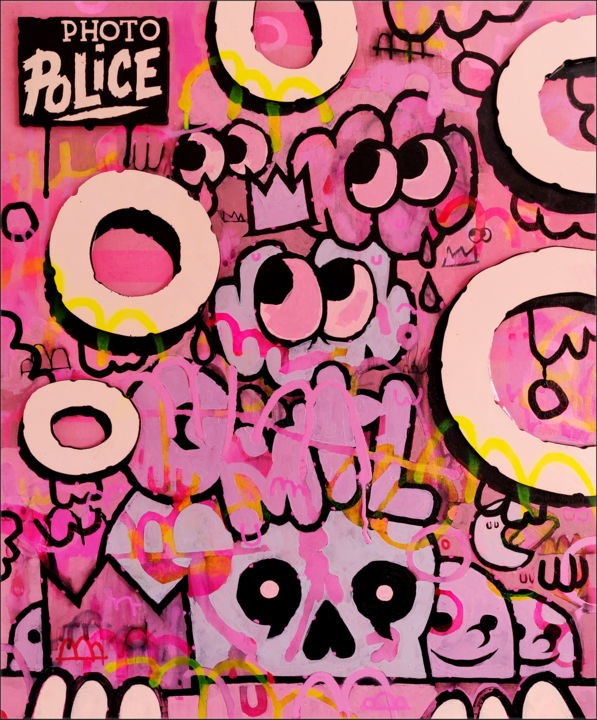 """Painting titled """"Photo police"""" by Jean-Sebastien Ouellet, Original Art, Acrylic"""