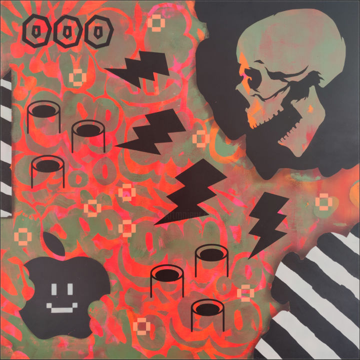 """Painting titled """"Game over"""" by Jean-Sebastien Ouellet, Original Art, Acrylic"""