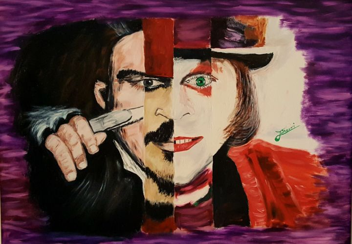 4 characters of Johnny Depp movies - Painting,  55x75x2.5 cm ©2010 by J. Sherri -                                                                                    Modernism, Portraiture, Symbolism, Canvas, Cinema, johnny depp, movie, cinema, film, hollywood, actor, men, handsome