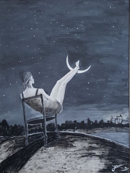 Moon - Painting,  75x55x2.5 cm ©2014 by J. Sherri -                                                                                                                        Modernism, Surrealism, Canvas, Abstract Art, Dark-Fantasy, Fantasy, Love / Romance, Women, fantasy, women, moon, relax, lake, castle, stars, dark, night