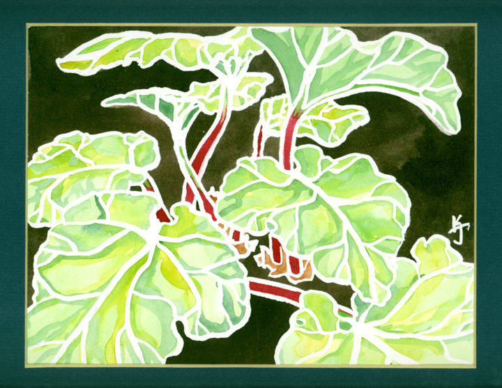 Rhubarb watercolor - Painting, ©2017 by Mina Lunga -