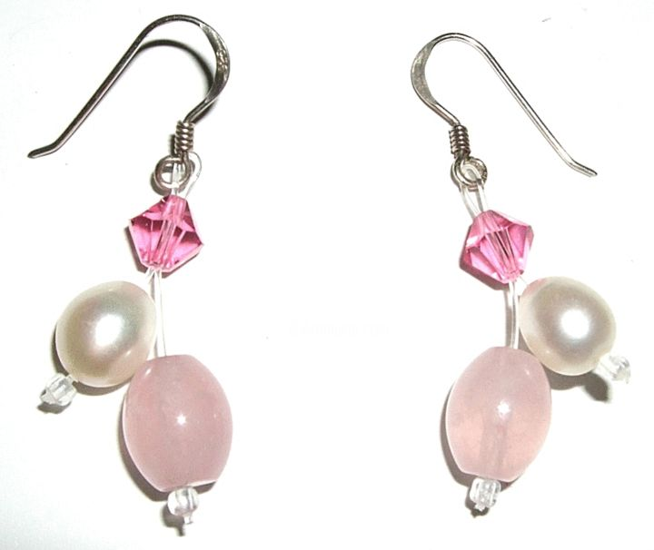 Freshwater pearls, pink crystal and sterling silver earrings - Design, ©2019 by Berglind Jewellery Design -