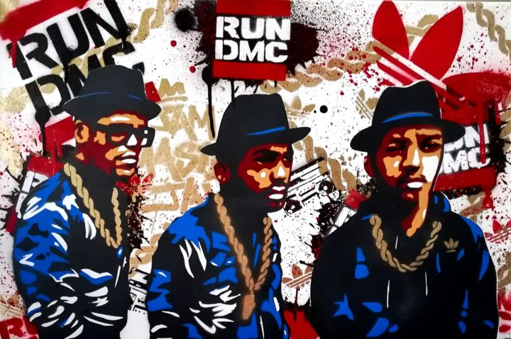 Run DMC - Painting,  15.8x23.6x0.8 in, ©2019 by JgSprayArt® -                                                                                                                                                                                                                                                                                                                                                                                                                                                                                                                                                                                                                                                                                                                                                                                                                                                                                                                                                          Street Art, street-art-624, Culture, Celebrity, Graffiti, Fashion, Music, Run dmc, Jmj, Jam Master Jay, Rev run, Hiphop, Rap, Music, New York, King of rock, Pioneer, Gold chains, Street art, JgSprayArt