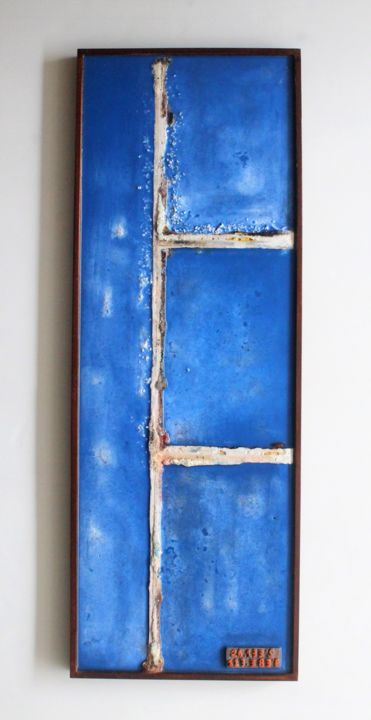 Earth Series ES5 - Sculpture,  35.4x12.6x1.6 in ©2019 by Jenny Hee -                                                                                Abstract Art, Concrete Art, Abstract Art, Aerial, Landscape, wall sculpture, wall artwork, abstract wall art, abstract art, concrete wall art, resin artwork, landscape art, wall hanging, home decor