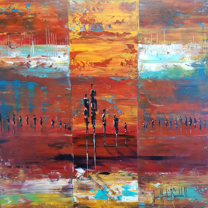 BACK TO AFRICA - Painting,  60x60x2 cm ©2018 by JEAN-HUMBERT SAVOLDELLI -                                                            Abstract Expressionism, Canvas, Landscape, savoldelli, back to africa