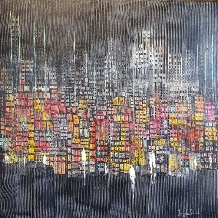 PAPILLONS DE NUIT - Painting,  100x100x2 cm ©2018 by JEAN-HUMBERT SAVOLDELLI -                                                            Abstract Expressionism, Canvas, Cities, savoldelli, papillons de nuit
