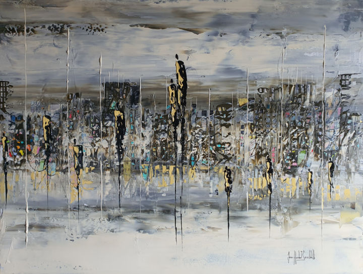 QUESTION D'ÉQUILIBRE - Painting,  35x45.7x0.8 in, ©2019 by JEAN-HUMBERT SAVOLDELLI -                                                                                                                                                                                                                                                                      Abstract, abstract-570, Cityscape, savoldelli, questiond'équilibre