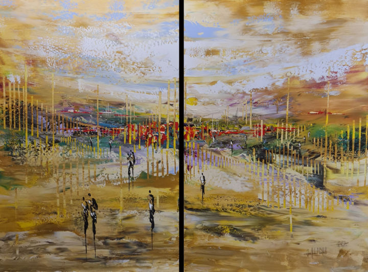 Landscape Painting, acrylic, abstract, artwork by Jean-Humbert Savoldelli