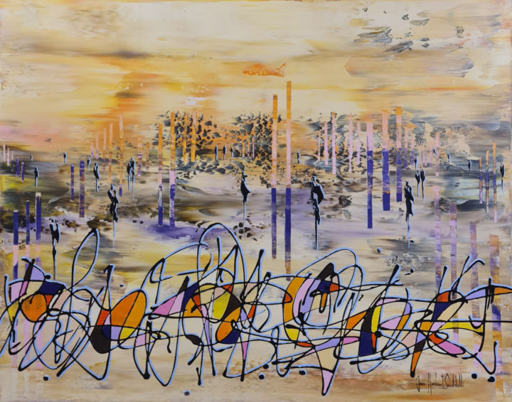 """Painting titled """"THE PURPLE WAY 2021"""" by Jean-Humbert Savoldelli, Original Art, Acrylic Mounted on Stretcher frame"""